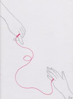 The Red Thread of Fate. by melancholiadoll on DeviantArt El hilo rojo del destino. Art Sketches, Art Drawings, Drawing Faces, Red String Of Fate, 7 Arts, Ac New Leaf, Art Anime, Hand Art, Embroidery Art