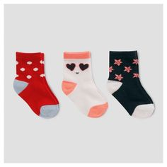 Add flair to any ensemble with the Baby Girls' 3 pack of American Crew Socks from Cat & Jack. These adorable baby socks feature fun patterns and colors and are finished with playful contrast heels and toes. Plus, they're guaranteed. Cat & Jack is made to last, but if anything doesn't, you can return it up to 1 year later with your receipt.