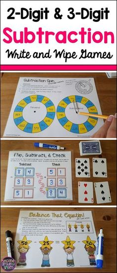 These 2-digit and 3-digit subtraction games are perfect activities for 2nd and 3rd grade math centers!  Write and wipe and self checking!