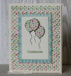 AJ Otto created this layered balloon card design that's a little dotty. The balloon image is perfect for coloring or paper piecing. Super fun!