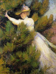 Summer Idyll ~  Girl and Pine Trees 1899  Edmund C Tarbell