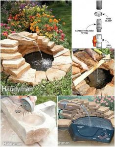 Minimalist Stone Pond and Fountain 35 Amazing Outdoor Garden Water Fountains Ideas - GoWritter Backyard Water Fountains, Garden Water Fountains, Ponds Backyard, Water Garden, Outdoor Fountains, Wall Fountains, Garden Ponds, Koi Ponds, Diy Water Feature