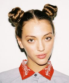 Put DAMP hair into two side buns (as picture). Sleep in them. And perfect curls. Good luck