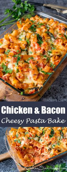 Pasta Bake With Chicken And Bacon Recipe Cheesy Pasta Bake With Chicken And Bacon - a family favourite (and it makes great leftovers too!Cheesy Pasta Bake With Chicken And Bacon - a family favourite (and it makes great leftovers too! Cheesy Pasta Bake, Chicken And Bacon Pasta Bake, Baked Chicken Pasta Recipes, Pasta Bake Recipes, Chicken Bacon Casserole, Recipe Chicken, Pasta With Meat, Chicken Tray Bake Recipes, Slow Cooker Chicken Pasta