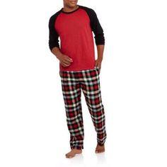 Hanes Men's Long Sleeve Jersey Crew & Flannel Pant Sleep Set, Size: Medium, Red