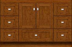 "48"" wide Montlake Shaker cinnamon cherry vanity. 32"" tall, 21"" or 18"" wall-to-front (doors add ¾"")."