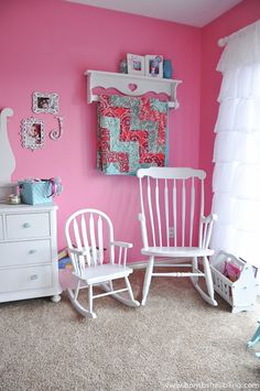 I adore this sweet nursery for a baby girl! Sweet Girly Nursery by @bombshellbling - features a sweet baby blanket in Mar Bella #Cuddle http://www.shannonfabrics.com/mar-bella-brcuddle-collection-c-899.html #babyblanket