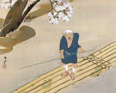 神坂雪佳 Kamisaka SEKKA 1866–1942. Raftsman. ca. 1930. Japanese Hanging scroll(s), ink and color on silk. Rinpa School 琳派