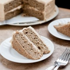 Gluten-Free Banana Buckwheat Cake with Peanut Butter Penuche Frosting
