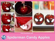 Yummy marshmallow Spiderman Candy Apples! - Foood Style