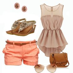 Lovely  Pink Asymmetrical Mini Dress with peach shorts and bling sandals (lovely..)