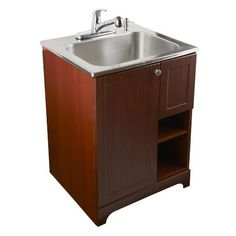 Presenza Deluxe Utility Sink And Storage Cabinet : Utility Sink - Modern Mop Slop Sink Tub Laundry Room Vanity Cabinet ...