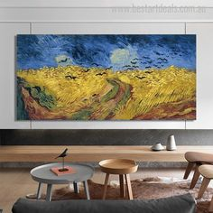 Wheatfield with Crows by Vincent Vangogh. This reproduction art print is one of the most selling artwork of art galleries.  #vangoghprints #artist #artlover #paintingprint Famous Art Paintings, Classic Paintings, Canvas Art Prints, Painting Prints, Canvas Wall Art, Van Gogh Prints, Wall Art Pictures, Crows, Poster Wall