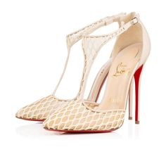 "Christian Louboutin Salonu 120 mm ""Saluno"" is a seductive new look for evening. Her sexy colombe fishnet pointed toe and T-strap are supported by a 120mm kid leather heel, creating the perfect silhouette for a sultry midnight tango."