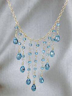 London Blue Topaz Gemstone Cascade Necklace by #AlisonStorryJewelry on #Etsy, $185
