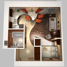 small apartment design - Studios et kitchenettes - La touche d'Agathe - Appartements, appartment, studios, small, tiny house,