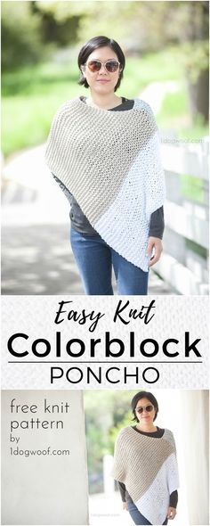 Easy Knit Catalunya Colorblock Poncho: free knitting pattern. A modern colorblock wrap or poncho using a simple knit garter stitch! Photo by Jeune Girl Studio http://1dogwoof.com