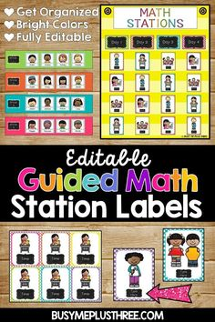 Are you ready to get started on guided math or get a new look for your math stations rotation chart? These bright, colorful, and cute pictures will get you organized and math your math centers run smoothly! Best of all, they are EDITABLE! Classroom Labels, Math Classroom, Kindergarten Math, Teaching Math, Chalkboard Classroom, Classroom Decor, Teaching Ideas, Maths, Guided Math Stations