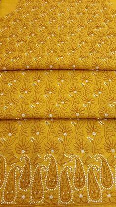 Lucknow Chikan Online Kurta Length Mustard Cotton