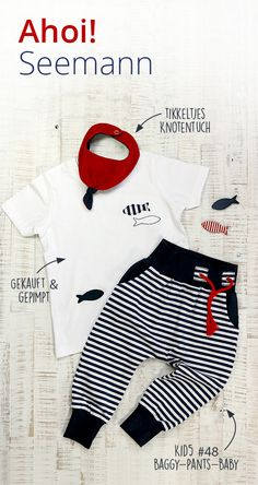 » Streifenlook » maritim » Knotentuch » Baggy-Pants-Baby » Seemann » Set