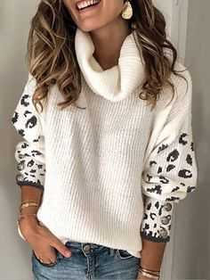 Heap Collar Long Sleeve Leopard Sweater Fashion girls, party dresses long dress for short Women, casual summer outfit ideas, party dresses Fashion Trends, Latest Fashion # New Outfits, Cool Outfits, Casual Outfits, Fashion Outfits, Fashion Tips, Latest Fashion, Fashion Trends, Cute Sweaters, Sweaters For Women