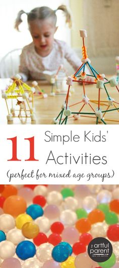 Simple Kids Activities for Mixed Ages Simple kids activities that work with a range of ages -- perfect for that houseful of cousins!Simple kids activities that work with a range of ages -- perfect for that houseful of cousins! Summer Activities For Kids, Indoor Activities, Craft Activities For Kids, Educational Activities, Summer Kids, Toddler Activities, Learning Activities, Projects For Kids, Games For Kids