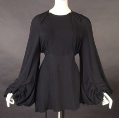 c.1969 OSSIE CLARK http://vintage-martini.myshopify.com/collections/couture-clothing-1960s/products/ossie-clark-c-1969-black-crepe-blouse-new-item