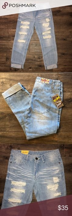 "Ripped Distress Jeans Measurements:                                                                     Waist: 15""                                                                                                       Rise 9.5""                                                                                       Hip 19""                                                                                                                             Inseam 24""…"