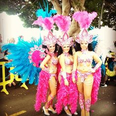 A trio of Carnival girls in their glorious finery   #tenerifecarnival #travel