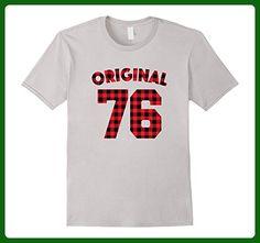 Mens Original 1976 Plaid T-Shirt 41st Birthday Gift 41 yrs Tee Large Silver - Birthday shirts (*Amazon Partner-Link)