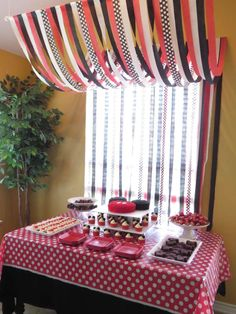 Red and black Mickey & Minnie Mouse birthday party! See more party ideas at CatchMyParty.com!