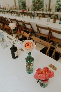 Gin Bottle Flowers Rose Peony Bright Colourful DIY Back Garden Wedding http://jonnymp.com/