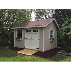 W x 12 ft. D Wooden Storage Shed Home Depot Storage Sheds, Wooden Storage Sheds, Backyard Storage Sheds, Storage Shed Plans, Backyard Sheds, Garden Sheds, Backyard Patio, Outdoor Pool, Storage Ideas
