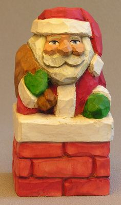 Santa in Chimney Woodcarving