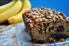 #paleo Cherry-Zucchini Paleo Banana Bread: 1/2 cup coconut flour; 5 eggs; 1/6 cup olive oil OR coconut oil; 1/3 cup maple syrup or honey; 1/2 cup zucchini, shredded; 2 large, very ripe bananas; 1 tbsp vanilla; 1 tsp baking soda; 1/2 tsp cinnamon; 1/4 tsp salt; 2/3 cup crushed walnuts; 2/3 cup fresh or frozen cherries, *halved