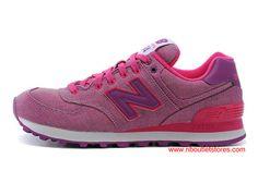 63a4f14f8f523 New Balance WL574GPK Canvas Pink Purple Womens Retro Shoes $69.00 Cheap New  Balance, New Balance