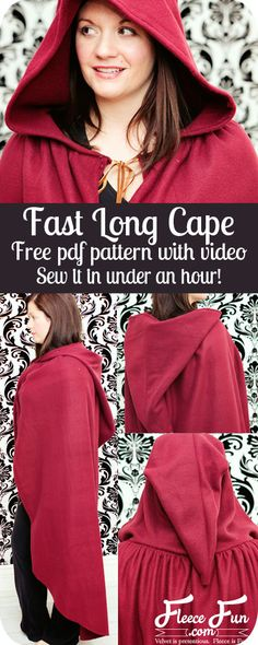 Fast hooded cape free pattern and tutorial I love how simple this free fast hooded cape pattern is - plus there's a video tutorial that shows you how to make it! Love this costume diy idea. Perfect fleece sewing project and costume idea DIY. Sewing Patterns Free, Free Sewing, Free Pattern, Cape Sewing Pattern, Cosplay Tutorial, Cosplay Diy, Diy Tutorial, Cape Tutorial, Hijab Tutorial