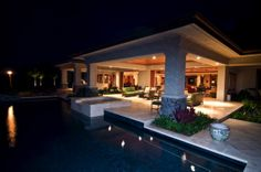 Upscale and oversized Lanai make for a very elegant looking outdoor living space.
