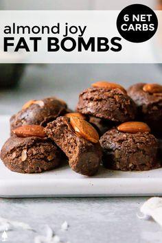 Sugar Free Desserts, Sugar Free Recipes, Low Carb Desserts, Low Carb Recipes, Diet Recipes, Snack Recipes, Dessert Recipes, Healthy Recipes, Almond Joy Fat Bombs