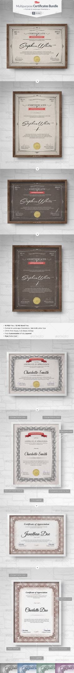Multipurpose #Certificates #Bundle - Certificates #Stationery Download here: https://graphicriver.net/item/multipurpose-certificates-bundle/7230729?ref=alena994