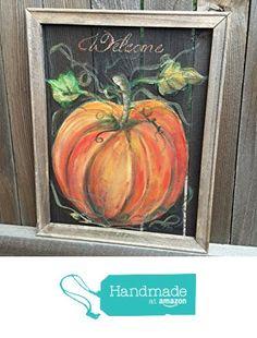 Welcome Sign Pumpkin ,Fall from RebecaFlottArts http://www.amazon.com/dp/B01623KYR2/ref=hnd_sw_r_pi_dp_u-7lwb1Z4DKXZ #handmadeatamazon