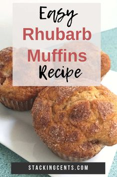 These easy rhubarb muffins are a delicious breakfast! The sour cream keeps them moist and the sugar and cinnamon topping is the perfect crunchy sweet touch. Muffin Recipes, Breakfast Recipes, Snack Recipes, Dessert Recipes, Cooking Recipes, Frugal Recipes, Breakfast Cake, Protein Recipes, Simple Recipes