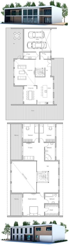 Contemporary House Plan to wide lot with open planning and spacious interior. Three bedrooms, two living areas.