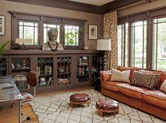 round casement window in livingroom | Dazzling Foot Stools trend Los Angeles Craftsman Living Room ...