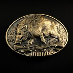 This buckle depicts a wild boar - one of the most desirable trophies for any hunter. Strongly built, stocky body, weight up to 400 kg - all this makes a boar not only a potential prey or a trophy but also a formidable opponent.  Made in Ukraine! - 100% of our products are made by skilled masters so you can be sure to receive a high-quality product.  Hunting belt; Bilateral buckle, Handmade&processed, Solid brass buckle, Boar hunt belt buckle, Trophy buckle Skull Belt Buckle, Brass Belt Buckles, Wild Boar Hunting, Hunting Dogs, The Buckle Store, Crusader Knight, Shoe Horn, Hunting Accessories, Medieval Armor