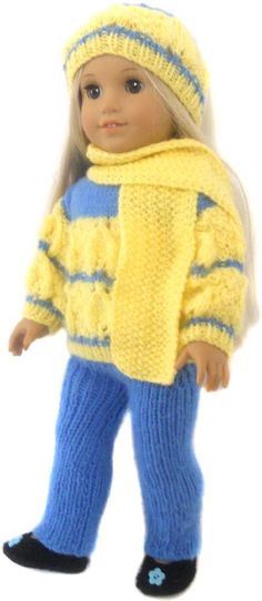 "This a PDF Knitting pattern, It is to make a 5 Piece Cozy set for 18"" dolls like American Girl Doll, South African Girl Doll , Harmony Club Doll , Our New Generation Battat Doll , Madam Alexander and other 18"" Dolls with similar measurements.Pattern includes : Sweater , Beanie , Scarf , Pants and shoes.SUPPLIES NEEDED : Any Double Knit or weight 3 yarn about 80 grm as main colour and 70 grm as contrast colour .Straight knitting needles no 3.75mm ( US 5) + 4mm (US 6 ) 3 buttons tapestry…"