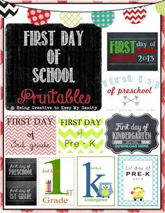 First Day of School Printables  @ Being Creative to Keep My Sanity