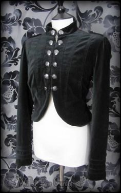 Military Gothic Black Velvet Cropped High Collar Jacket 14 Victorian Steampunk | THE WILTED ROSE GARDEN on eBay // Worldwide Shipping Available