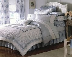 laura ashley blue and white bedding for guest room