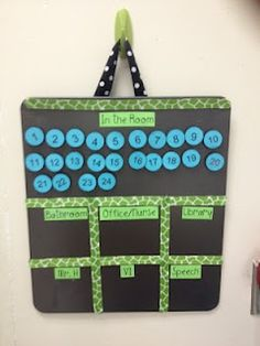 Class Attendance Board--will help you know where students are at all times!  Because everyone has that moment where they are like...I lost one!